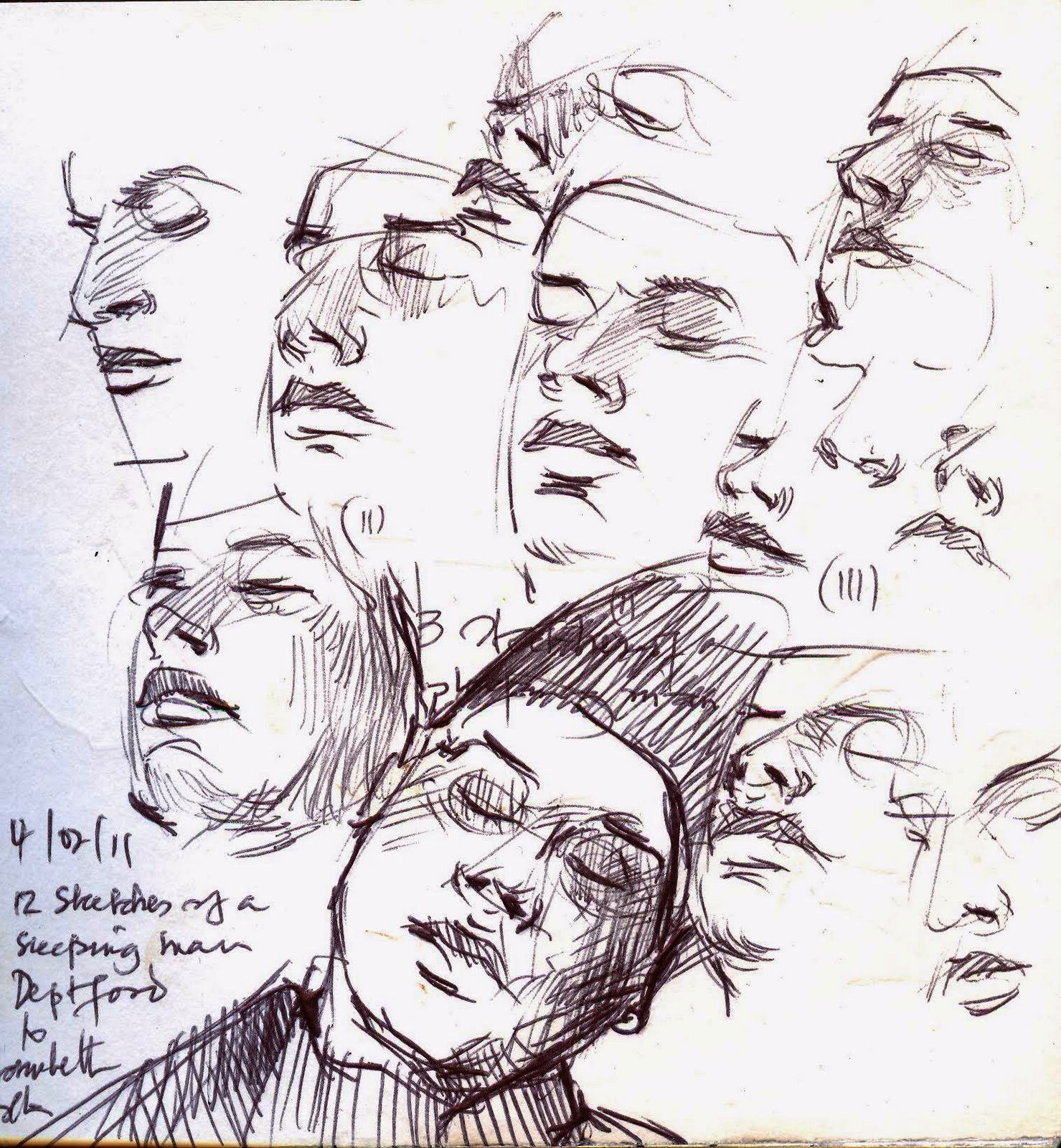 12 sketches of a moving sleeping man