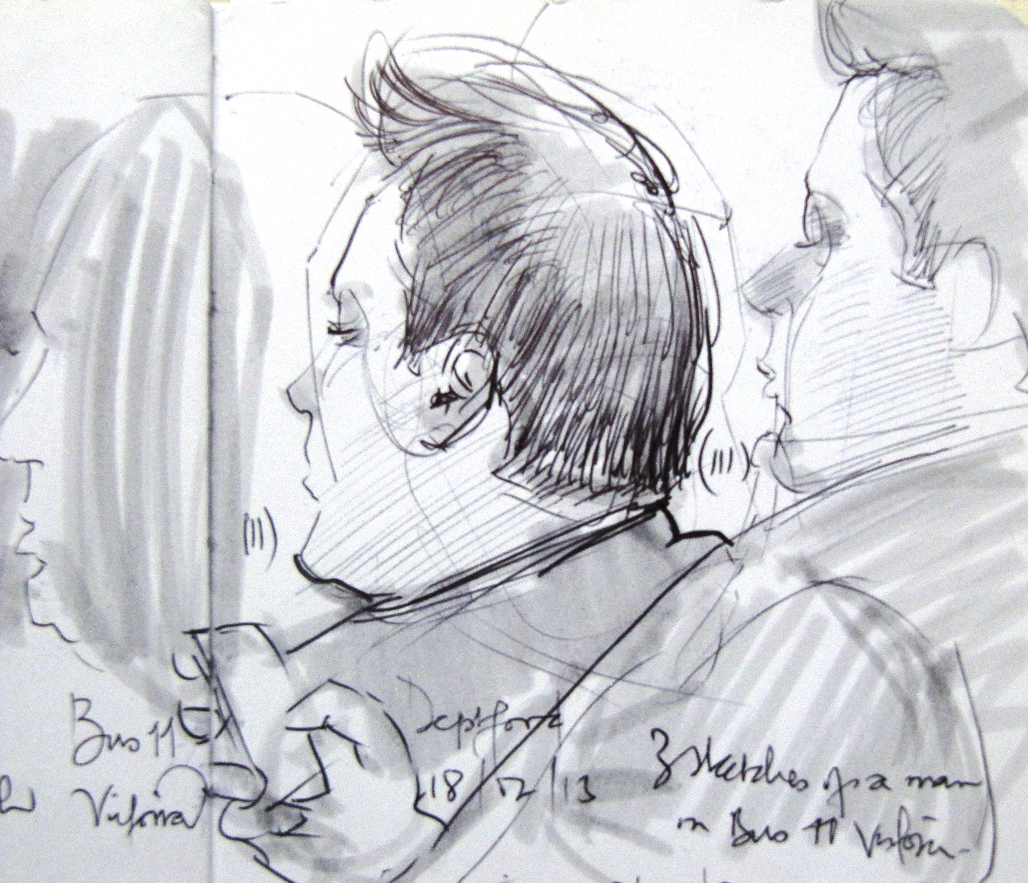 2 profile sketches of a man.