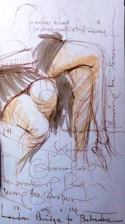 2 sketches of a womans legs