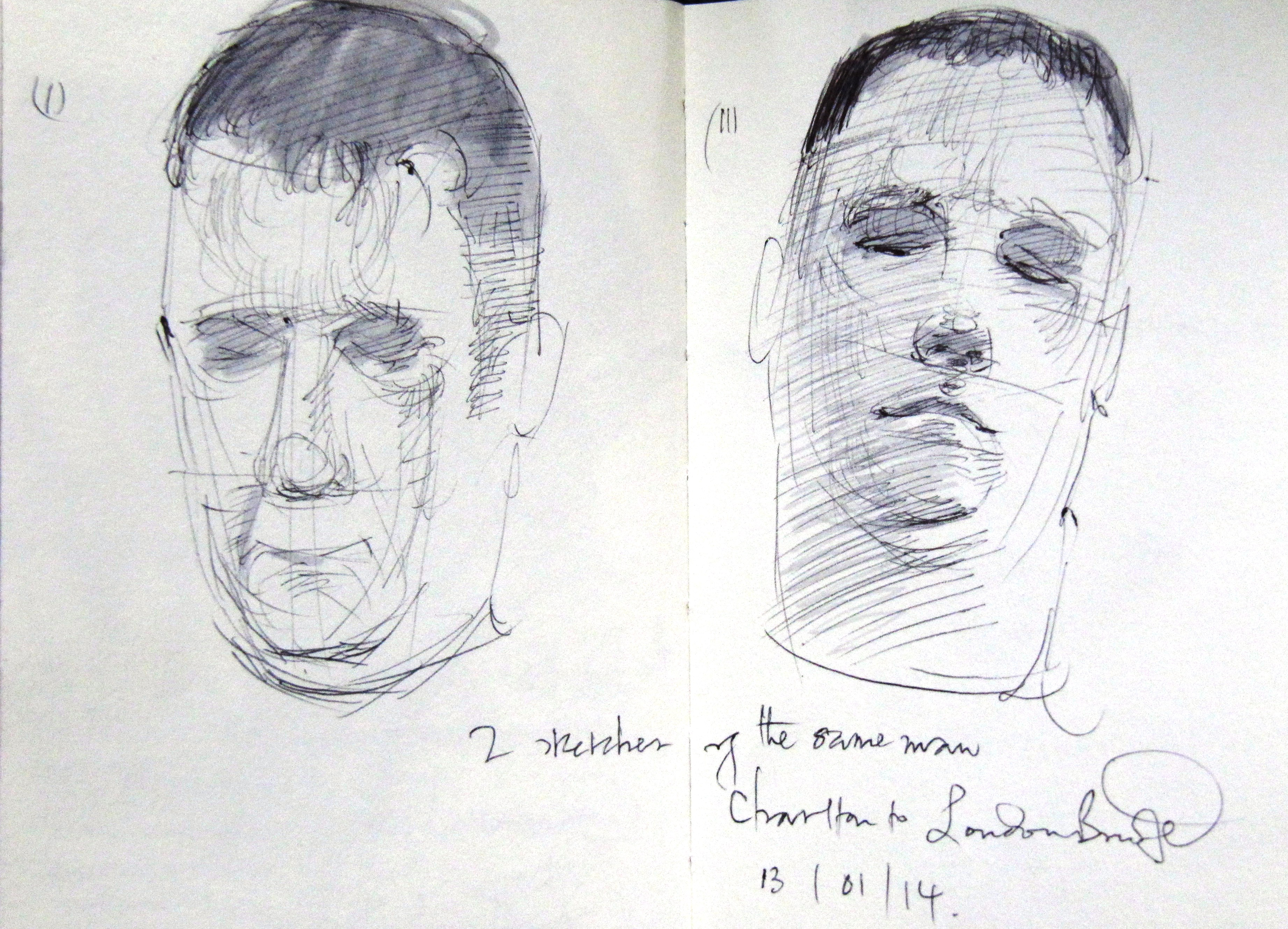 2 sketches of the same man sleepi