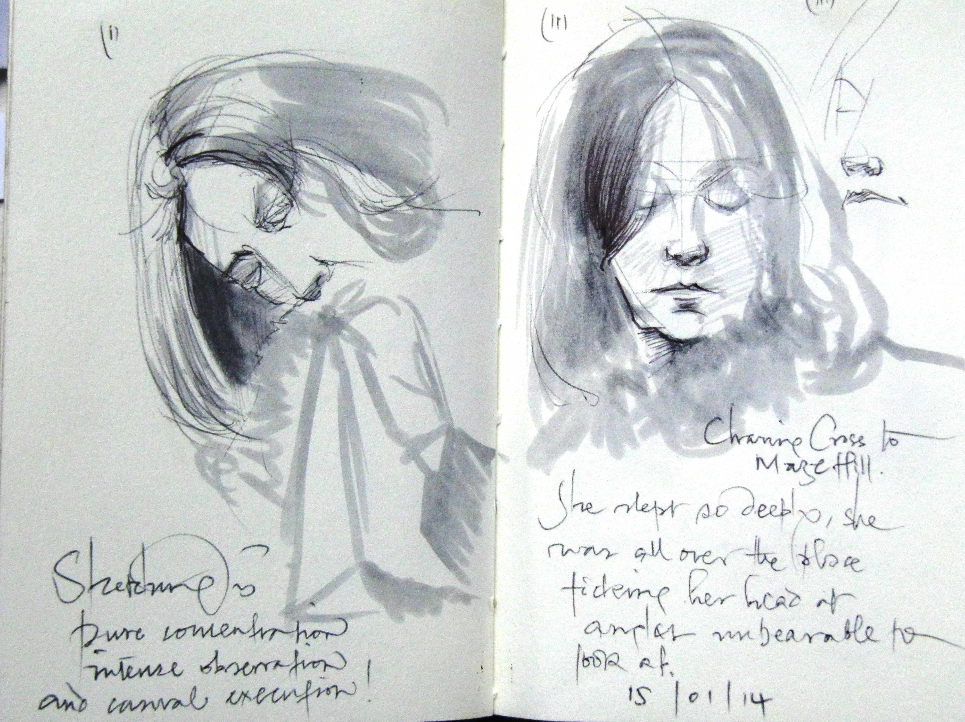 2 sketches of the same woman in two sleeping modes