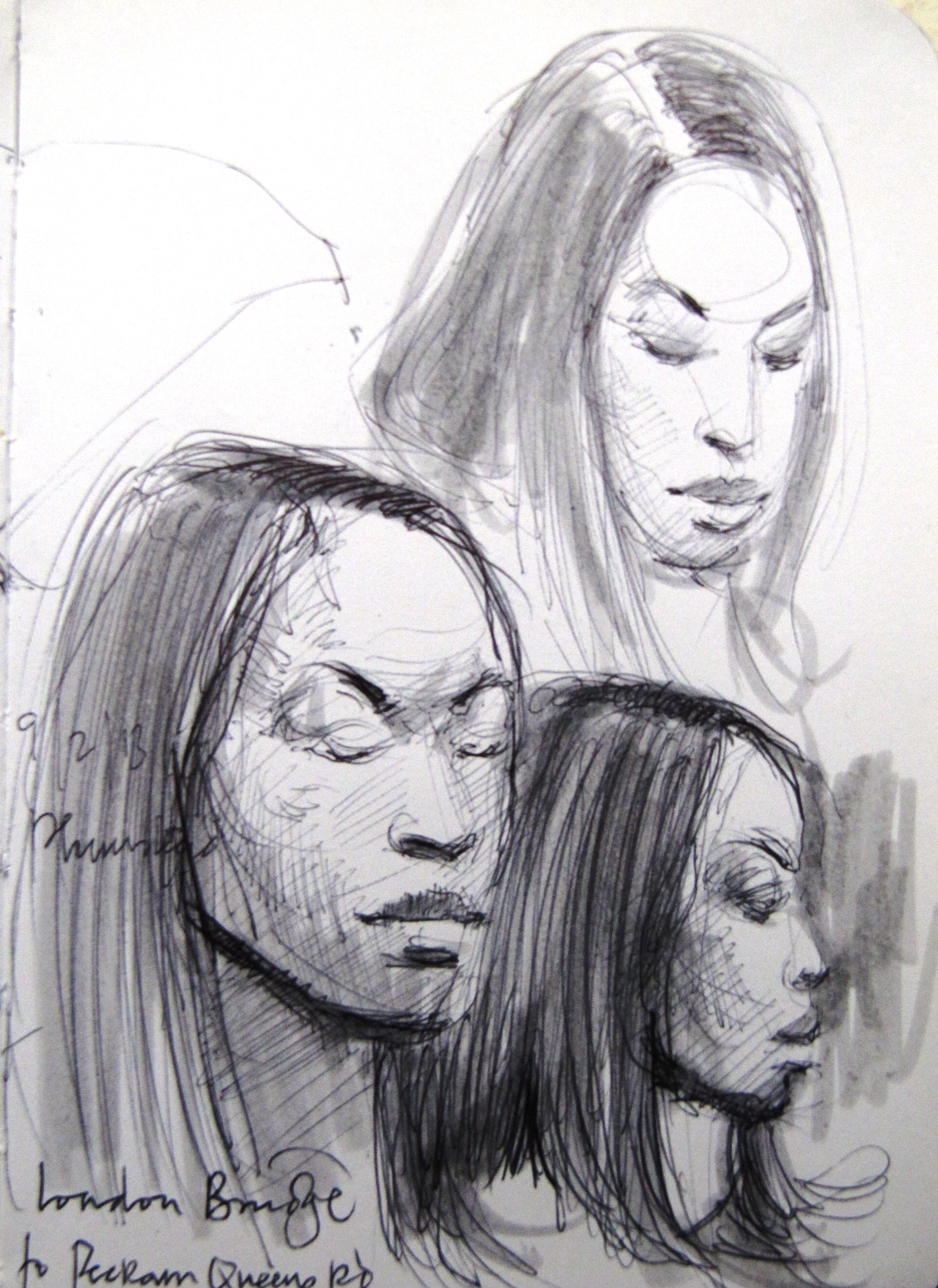 3 sketches of a black woman with brazillian hair