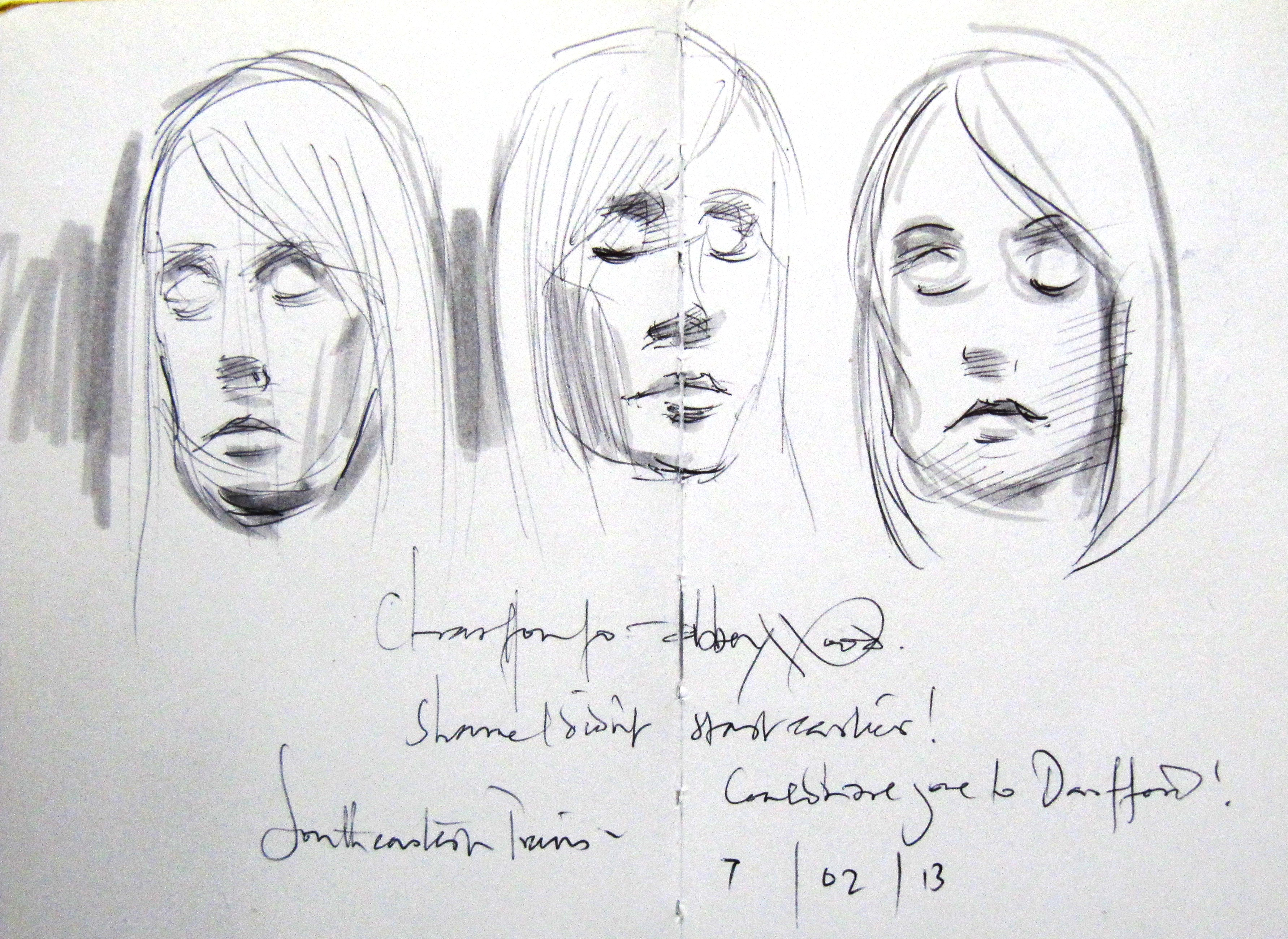 3 sketches of a woman day dreaming