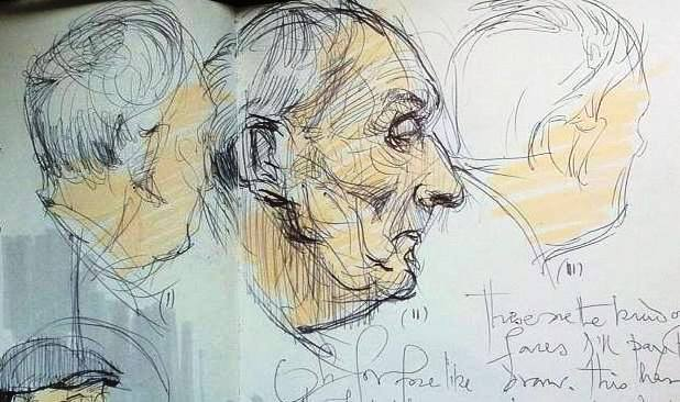3 sketches of an old man