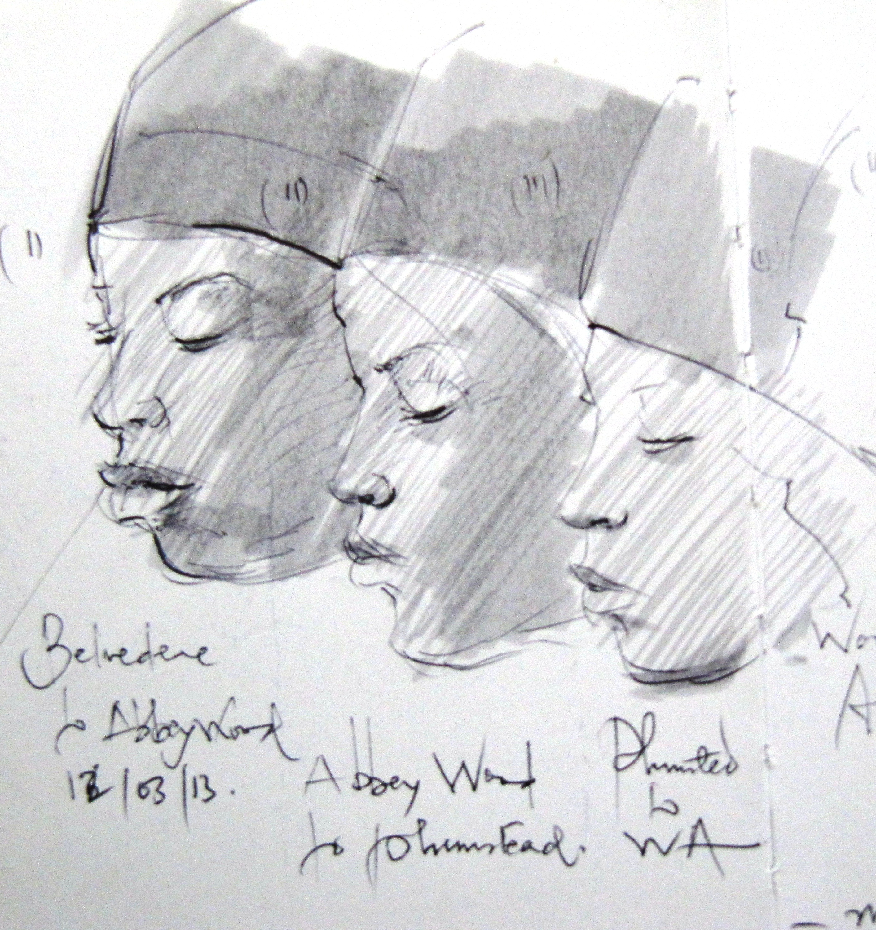 3 sketches of lady in profile