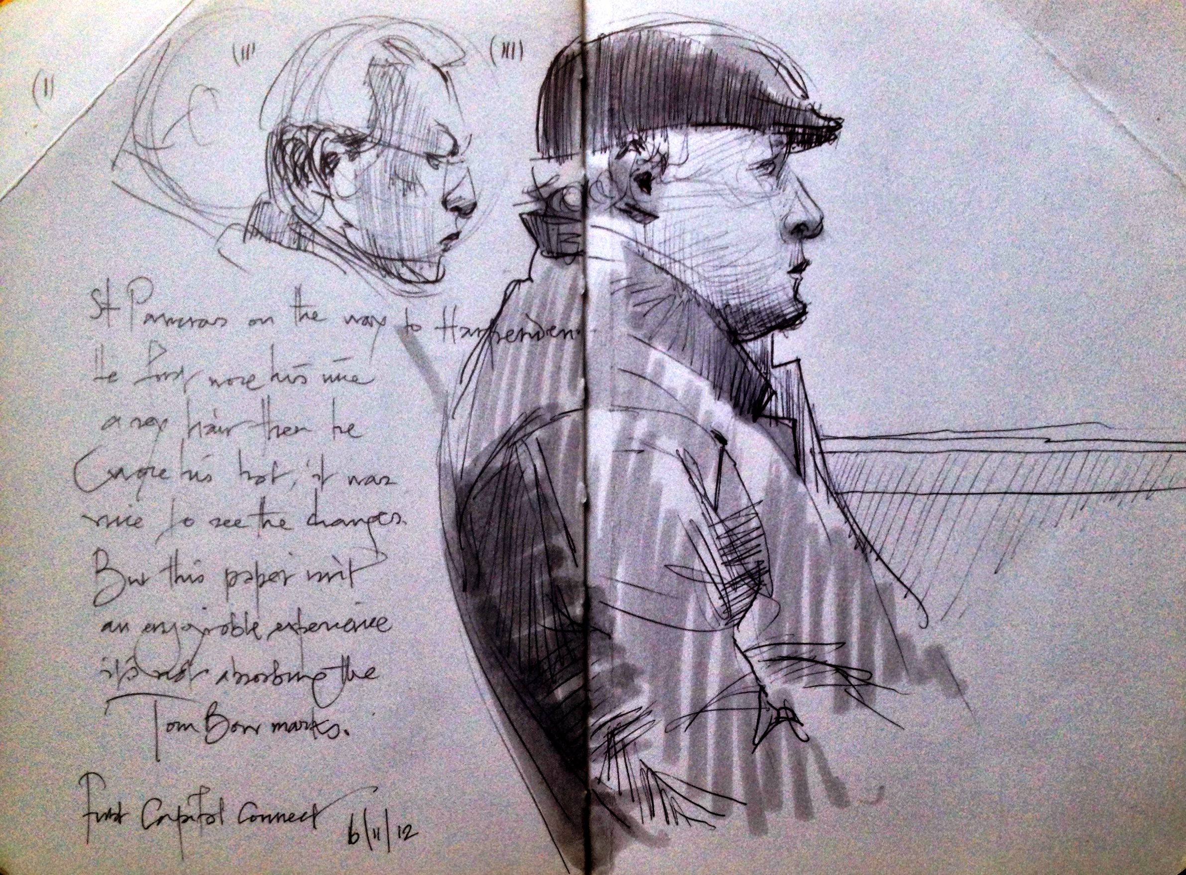 3 sketches of the same man on the train, one where he wears a hat