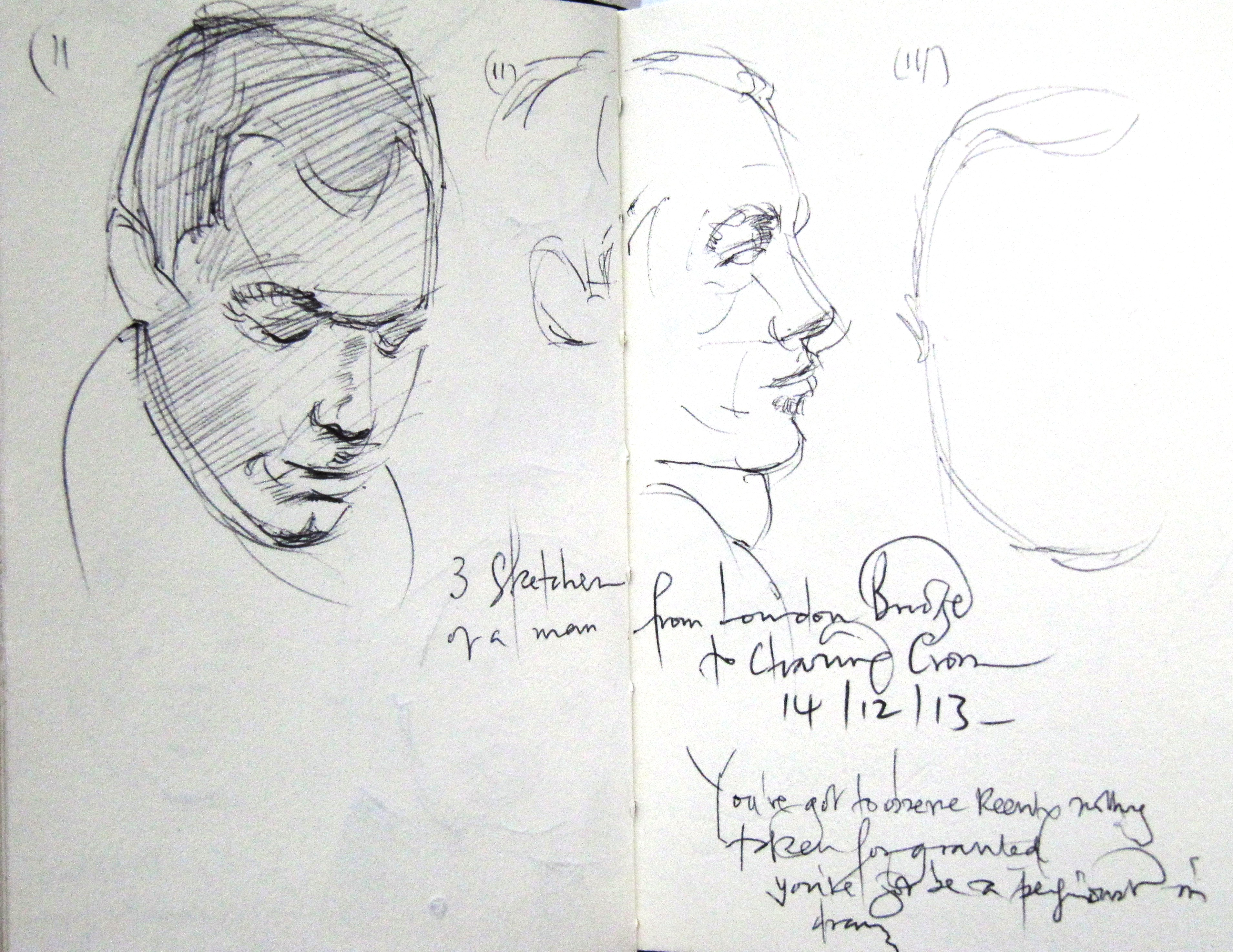 3 sketches of the same man