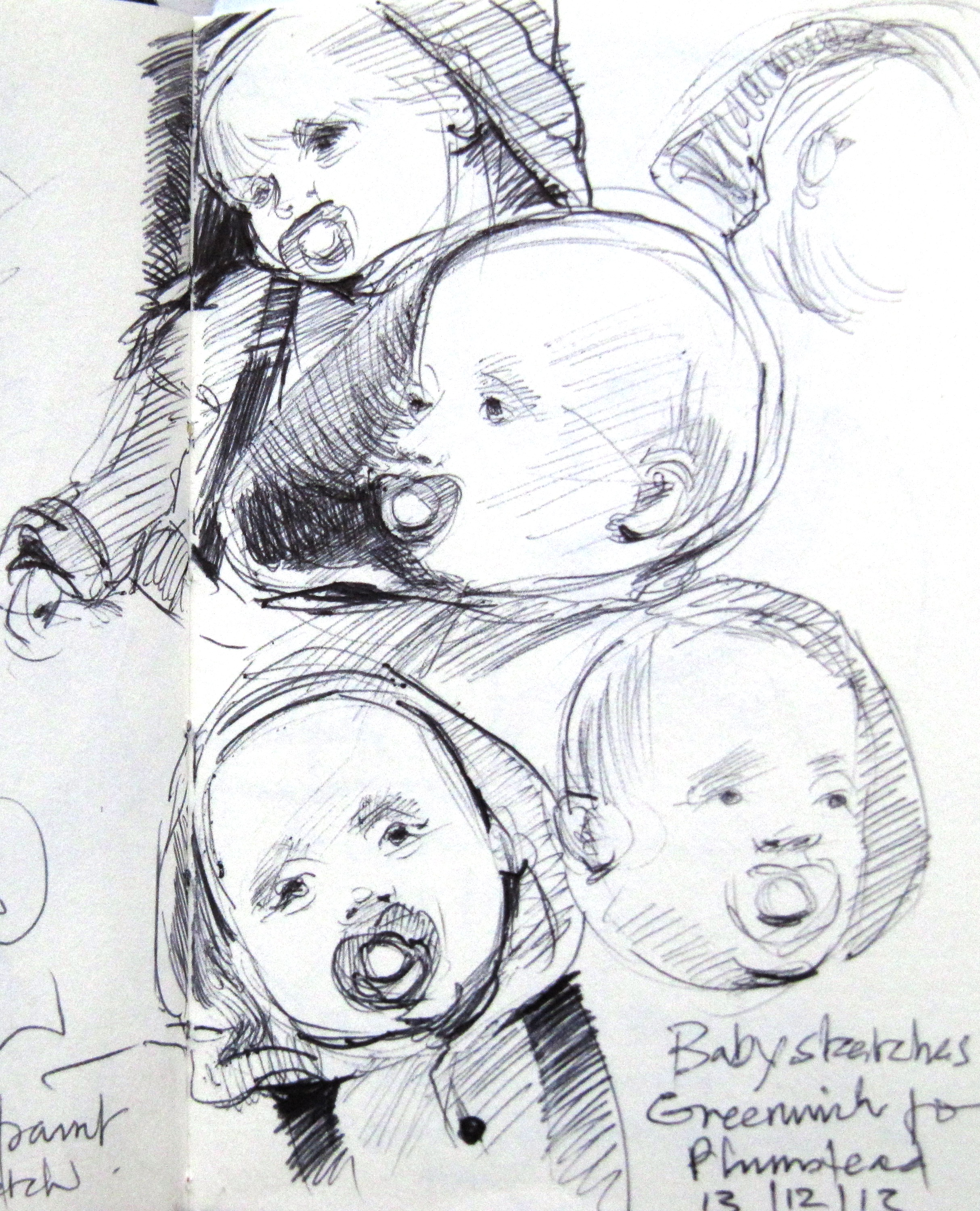 5 attempts at sketching a baby with a dummy