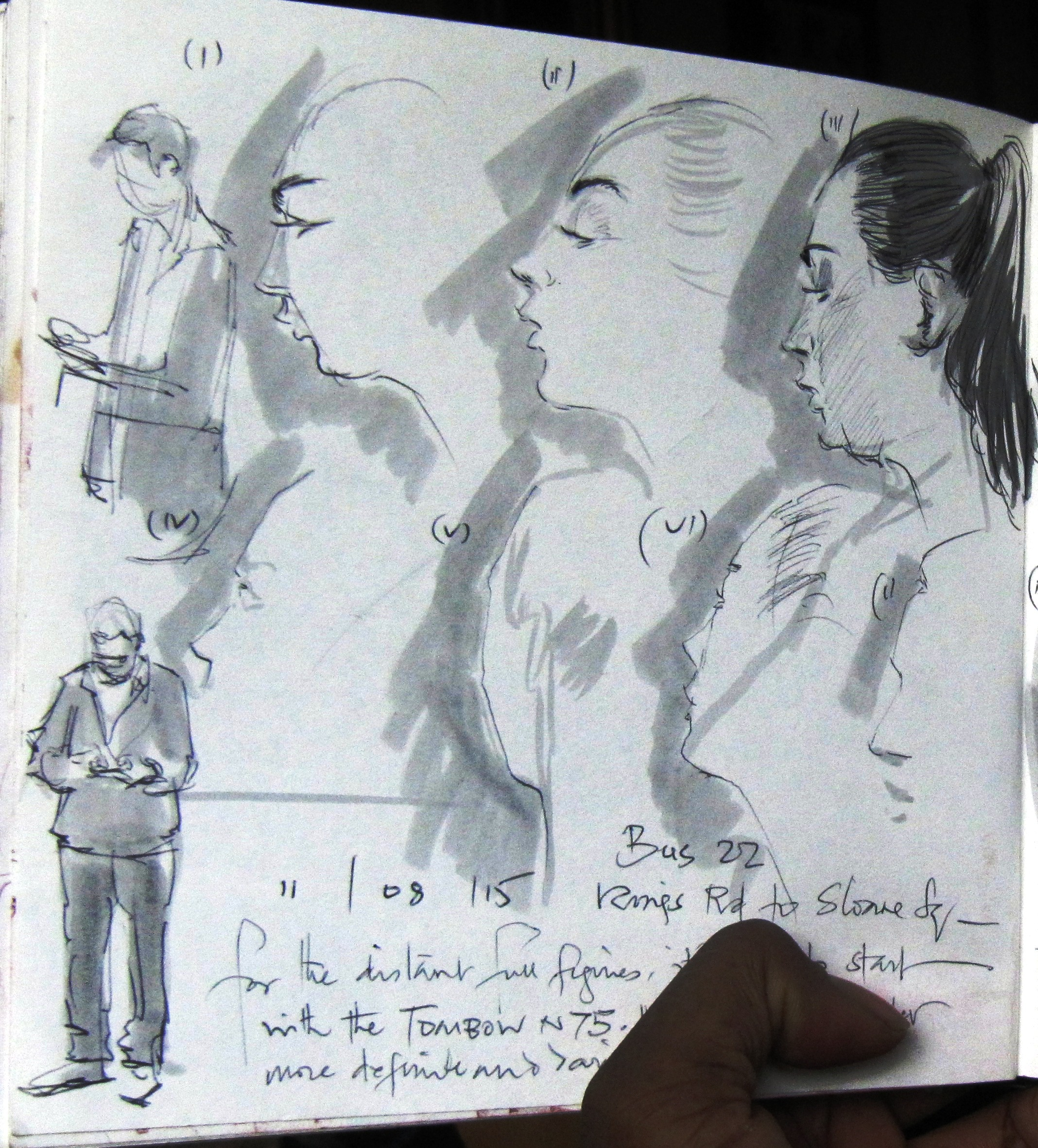 Sketches of a lady during making up