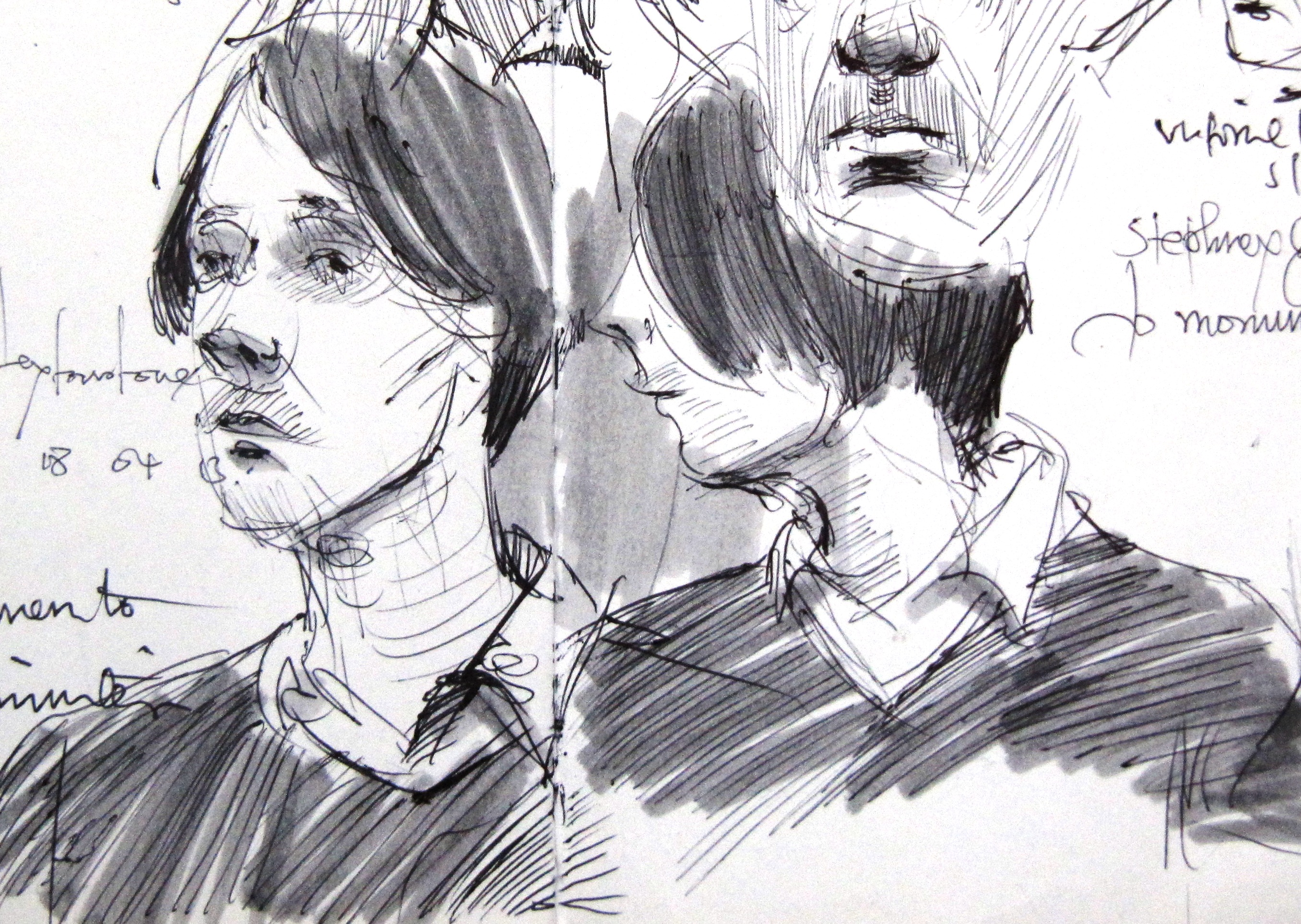 2 sketches of a man in shirt and jumper